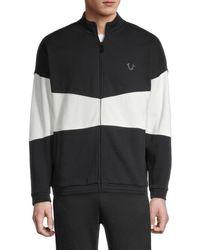 True Religion Colorblock Cotton-blend Zip-front Jacket - Black