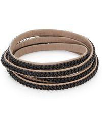 Vita Fede Capri Chain & Leather Five-row Wrap Bracelet - Black