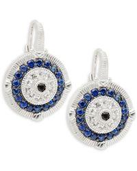 Judith Ripka Sterling Silver, White, Blue & Black Sapphire Earrings - Multicolour