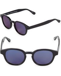 Sunday Somewhere Tinted 47mm Round Sunglasses - Blue