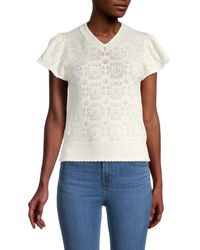See By Chloé Women's Scalloped-trim Eyelet Top - Iconic Milk - Size L - White