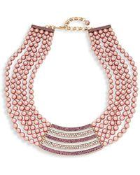 Heidi Daus - Multi-color Rhinestone Bar Pendant Bib Necklace - Lyst