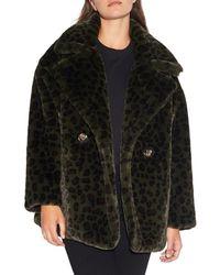 Apparis Women's Amelia Leopard-print Faux Fur Peacoat - Army Green - Size L - Multicolour