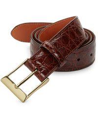 Saks Fifth Avenue Crocodile-embossed Leather Belt - Brown