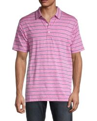 Dunning Striped Short-sleeve Polo - Pink