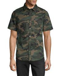 Calvin Klein Camouflage-print Short-sleeve Shirt - Green