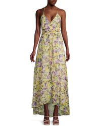 Astr Women's Amy Floral High-low Maxi Dress - Yellow Floral - Size M