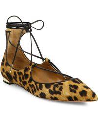 Aquazzura - Christy Leopard-print Calf Hair Point-toe Flats - Lyst