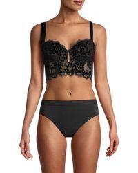 Free People Women's Fringed Lace Longline Bra - Black - Size M