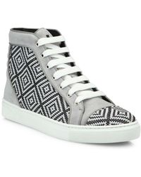 Louis Leeman - Crystal Accented Leather Sneakers - Lyst