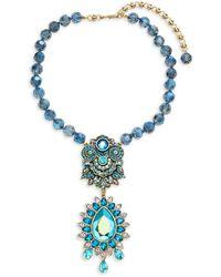 Heidi Daus Fancy Pear Drop Necklace - Blue