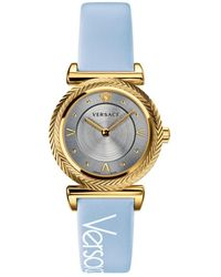 Versace Women's V-motif Vintage Stainless Steel Leather Strap Watch - Blue