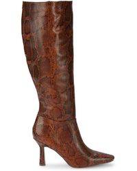 Sam Edelman Women's Davin Snakeskin-embossed Leather Knee-high Heeled Boots - Brown - Size 6.5