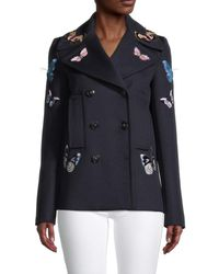Valentino Women's Embroidered Virgin Wool & Cashmere Peacoat - Blue - Size 2
