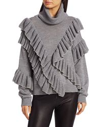 Alice + Olivia Libbie Ruffle-trim Turtleneck Sweater - Gray
