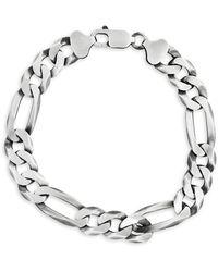 Effy Sterling Silver Ultra Flat Figaro Chain Bracelet - Metallic