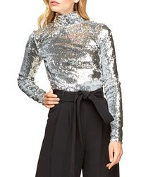 MILLY Sequin Turtleneck Long-sleeve Top - Metallic