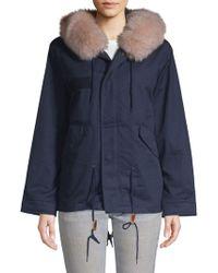 AVA & KRIS - Rabbit Fur-trimmed Cotton Parka - Lyst