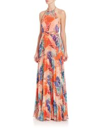 Laundry by Shelli Segal - Printed Halter Gown - Lyst