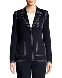 ESCADA Contrast-stitched Blazer Jacket - Blue