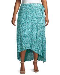 Bobeau Plus Buttercup Floral Wrap Skirt - Green