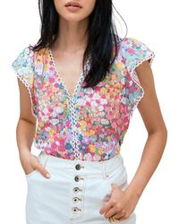 Kate Spade Ruffled Floral Top - Multicolor