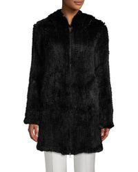 Adrienne Landau - Rabbit Fur Zip-front Coat - Lyst
