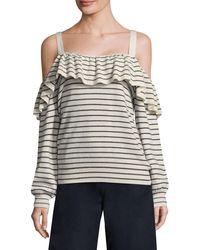 Joie Delbin Striped Cold-shoulder Sweater - Multicolour