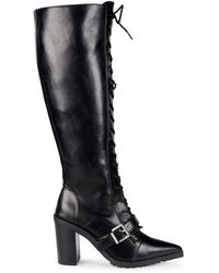 Charles David Dysfunctional Leather Stacked Heel Knee-high Boots - Black