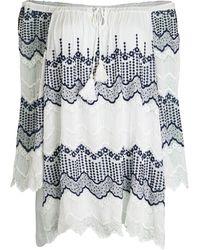 Le Marais Embroidered Off-the-shoulder Cotton Tunic Top - White