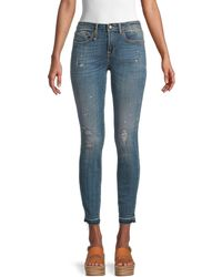 R13 Alison Snake Foil Skinny Jeans - Blue