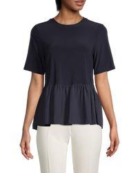 Tommy Hilfiger Women's Short-sleeve Peplum Top - Midnight - Size M - Blue