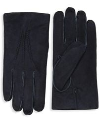 Saks Fifth Avenue Classic Suede Gloves - Blue