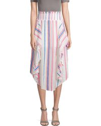 Red Carter - Striped Ruffled Cotton Midi Skirt - Lyst