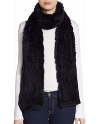 Saks Fifth Avenue Black - Knitted Rabbit Fur Scarf - Lyst