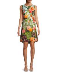 Akris Punto Cactus Blossom Print Shift Dress - Yellow