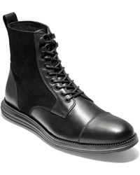 Cole Haan Original Grand Cap Toe Ii Leather Boots - Black