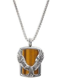 Effy Men's Sterling Silver & Tiger's Eye Eagle Pendant Necklace - Metallic