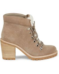 Dolce Vita Post Faux Shearling-trim Suede Booties - Multicolour
