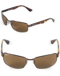 Ray-Ban - 60mm Polarized Rectangle Sunglasses - Lyst