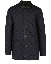 Dunhill Lightweight Quilted Snap Front Car Coat - Black