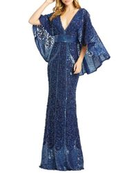 Mac Duggal Women's Embellished Cape-sleeve Column Gown - Midnight - Size 6 - Blue