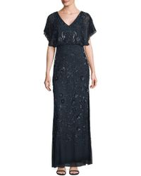 Adrianna Papell - Flutter Sleeve Beaded Gown - Lyst