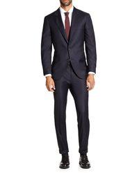 Brunello Cucinelli Solid Gabardine Wool Suit - Blue