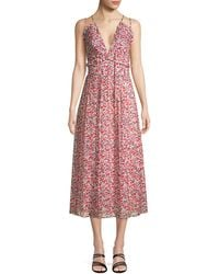 Robert Rodriguez Cayana Floral Pleated Midi-dress - Pink