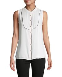 Tommy Hilfiger Contrast-piping Sleeveless Shirt - White