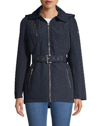 MICHAEL Michael Kors Missy Belted Quilted Jacket - Blue