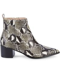 Saks Fifth Avenue Emerson Snake-print Leather Ankle Boots - Black