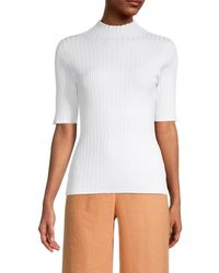 525 America Women's Ribbed Mockneck Top - Bleach White - Size S