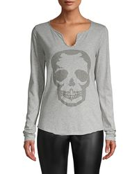 Zadig & Voltaire Embellished Cotton Top - Gray